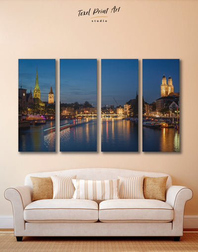 4 Panels Zurich Cityscape Wall Art Canvas Print - 4 Panels City Skyline Wall Art Cityscape Living Room Office Wall Art