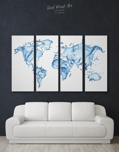 4 Piece Abstract Wall Art Canvas Print - 4 Panels Abstract Abstract map abstract world map wall art aqua wall art