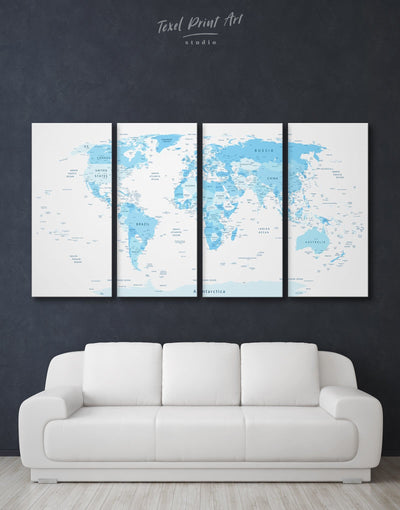 4 Piece Blue World Map Wall Art Canvas Print - 4 Panels Blue Blue Abstract Wall art blue and white blue wall art for bedroom