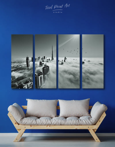 4 Piece Dubai Cityscape Wall Art Canvas Print - 4 Panels bedroom black and white wall art Cityscape Dubai