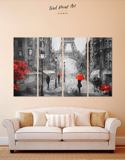 4 Piece Paris City Wall Art Canvas Print - 4 Panels eiffel tower wall art french wall art inspirational wall art living room wall art