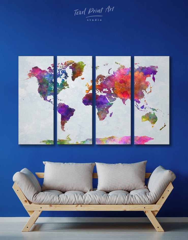 4 Piece World Map Colorful Wall Art Canvas Print - 4 Panels Abstract map abstract world map wall art bedroom Living Room