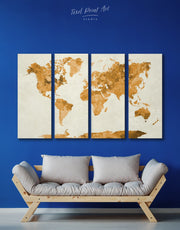 4 Piece World Map Gold Abstract Wall Art Canvas Print