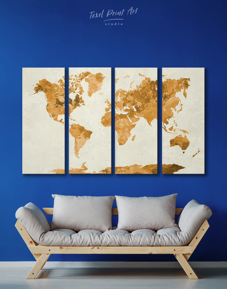 4 Piece World Map Gold Abstract Wall Art Canvas Print - 4 Panels Abstract Map Gilded world map wall art Gold gold world map