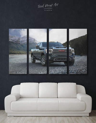 4 Pieces 2020 GMC Sierra Heavy Duty Wall Art Canvas Print - 4 Panels bachelor pad Car garage wall art Hallway