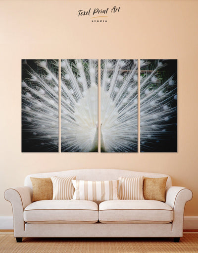 4 Pieces Albino Peacock Wall Art Canvas Print - 4 Panels Abstract bedroom Living Room living room wall art