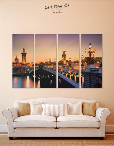 4 Pieces Alexander III Bridge in Paris Wall Art Canvas Print - 4 Panels Bridge Dining room Hallway Living Room