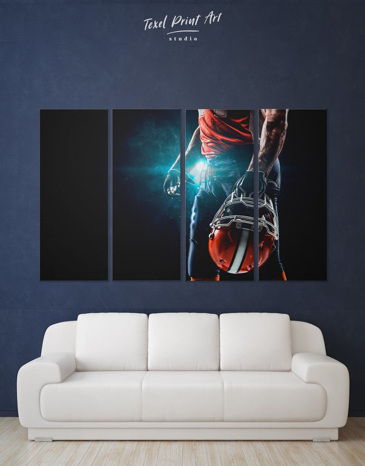 4 Pieces American Sport Wall Art Canvas Print - 4 Panels bachelor pad bedroom Black Blue