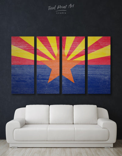 4 Pieces Arizona State Flag Wall Art Canvas Print - 4 Panels blue flag wall art Hallway Living Room