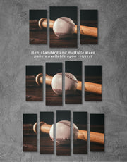 4 Pieces Ball and Bat Baseball Wall Art Canvas Print