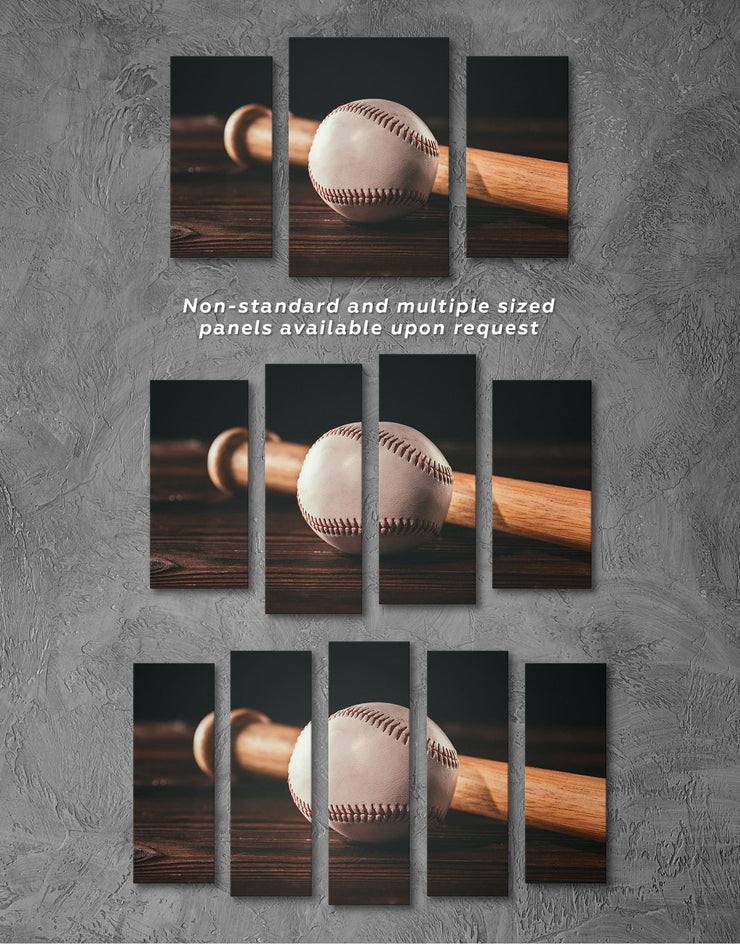 4 Pieces Ball and Bat Baseball Wall Art Canvas Print - 4 Panels bachelor pad baseball baseball wall art bedroom