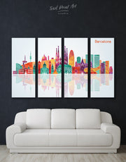 4 Pieces Barcelona Skyline Canvas
