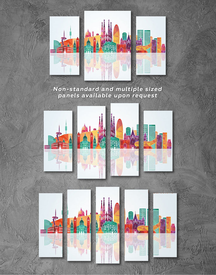 4 Pieces Barcelona Skyline Canvas - Canvas Wall Art 4 Panels bedroom City Skyline Wall Art Cityscape Dining room
