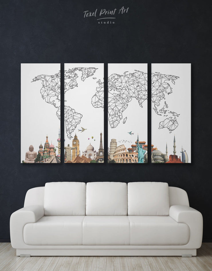 4 Pieces Big Map of the World Wall Art Canvas Print - 4 Panels Abstract bedroom Black and white world map Dining room