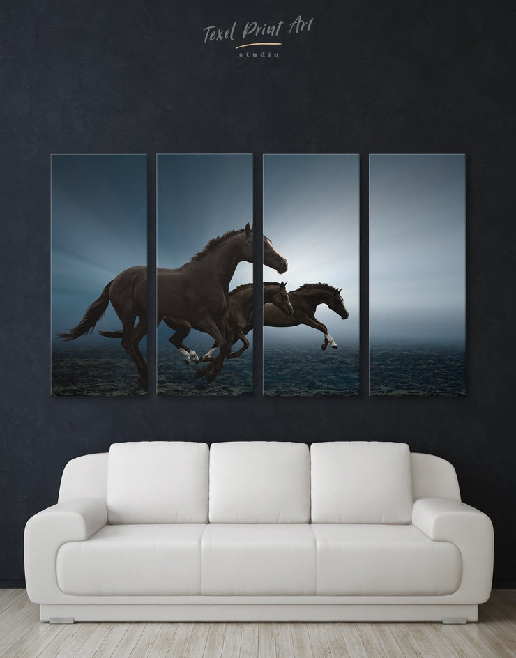 4 Pieces Black Running Horse Wall Art Canvas Print - 4 Panels Animal Animals bedroom black