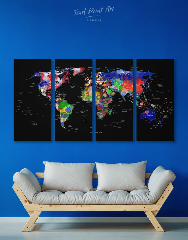 4 Pieces Black World Map Wall Art Canvas Print - 4 Panels bedroom Black Living Room living room wall art