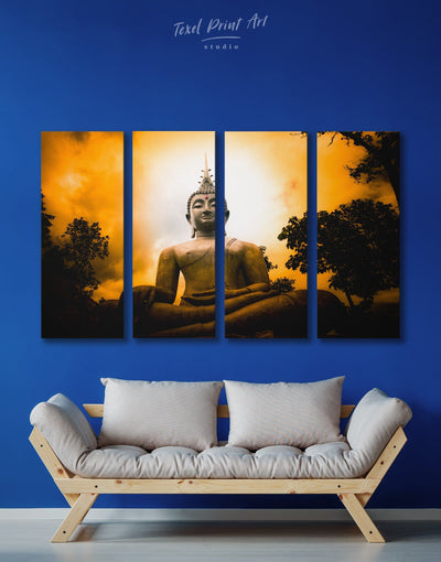 4 Pieces Buddhist Wall Art Canvas Print - 4 Panels bedroom Black Buddha wall art buddhist wall art