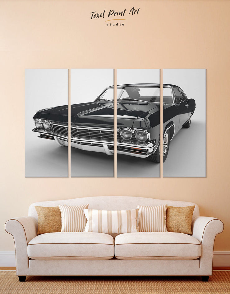 4 Pieces Chevrolet Impala Car Wall Art Canvas Print - 4 Panels bachelor pad Black black and white wall art Car