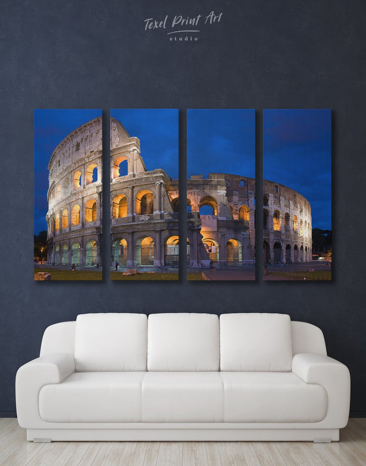 4 Pieces Coliseum Rome Wall Art Canvas Print - 4 Panels Architectural Wall Art bedroom dining room wall art Hallway