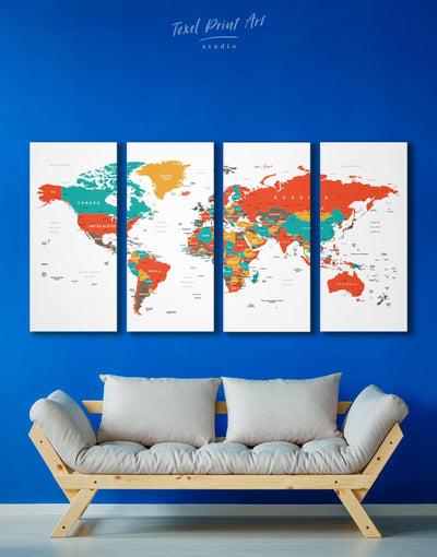 4 Pieces Colored Push Pin World Map Wall Art Canvas Print - 4 Panels green Living Room Office Wall Art Pushpin Travel Map