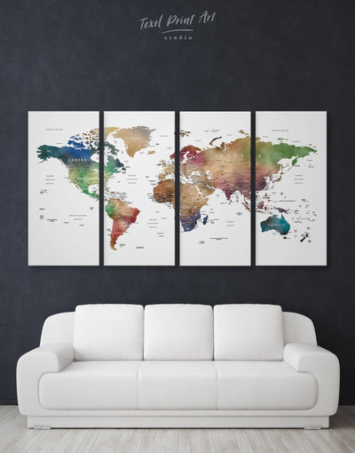 4 Pieces Colorful Push Pin Map Of The World Wall Art Canvas Print - 4 Panels bedroom brown contemporary wall art green