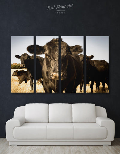 4 Pieces Cow Wall Art Canvas Print - 4 Panels Animal Animals Black cow canvas wall art