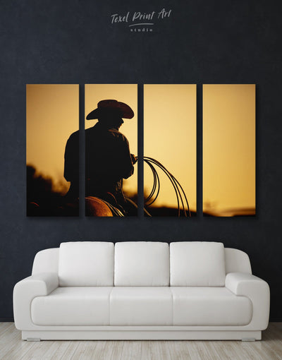 4 Pieces Cowboy Wall Art Canvas Print - Canvas Wall Art 4 Panels bedroom black Cowboy Hallway
