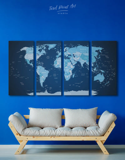 4 Pieces Dark Blue World Map Wall Art Canvas Print - 4 Panels bedroom Blue corkboard Hallway