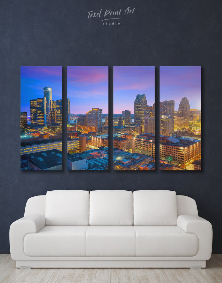 4 Pieces Detroit City Wall Art Canvas Print - 4 Panels bedroom City Skyline Wall Art Cityscape detroit wall art