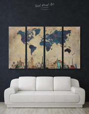 4 Pieces Famous Landmarks World Map Wall Art Canvas Print