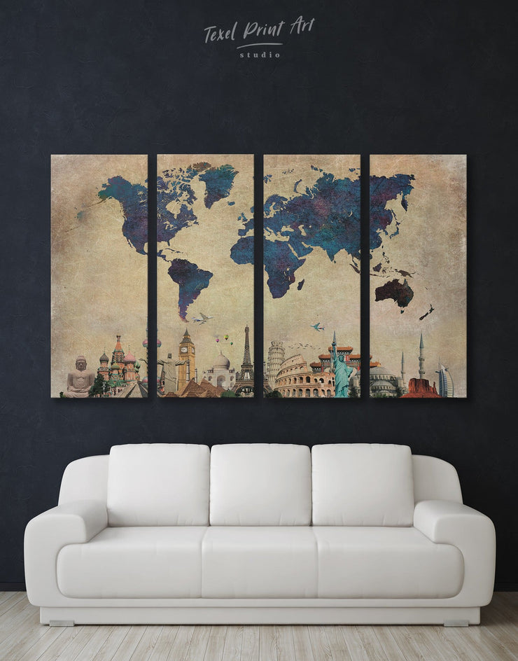 4 Pieces Famous Landmarks World Map Wall Art Canvas Print - 4 Panels Abstract map Blue blue wall art for bedroom Blue wall art for living