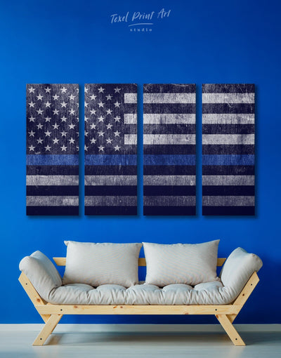 4 Pieces Flag Of The USA Wall Art Canvas Print - Canvas Wall Art 4 Panels American flag Blue Blue wall art for living room flag wall art