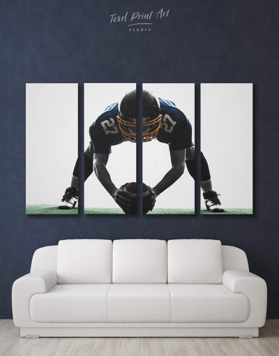 4 Pieces Football Player Wall Art Canvas Print - 4 Panels bachelor pad black and white wall art contemporary wall art Football Wall Art