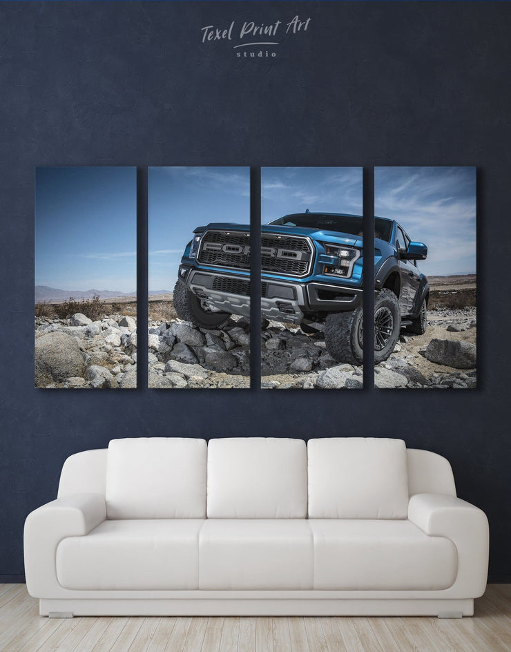 4 Pieces Ford Car Wall Art Canvas Print - 4 Panels bachelor pad Car garage wall art Hallway