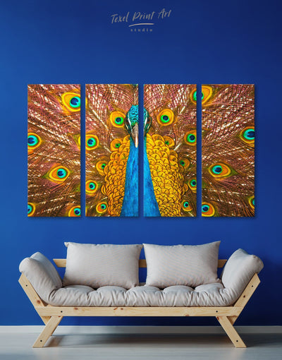 4 Pieces Gold Peacock Wall Art Canvas Print - 4 Panels Animal bedroom bird wall art Dining room