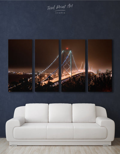 4 Pieces Golden Gate at Night Wall Art Canvas Print - 4 Panels bedroom Bridge Golden Gate bridge wall art Living Room