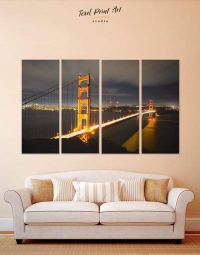 4 Pieces Night San Francisco Golden Gate Wall Art Canvas Print - 4 Panels bedroom Black City Skyline Wall Art Cityscape