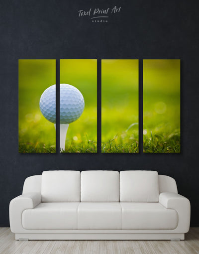 4 Pieces Golf Wall Art Canvas Print - 4 Panels bachelor pad bedroom green Hallway