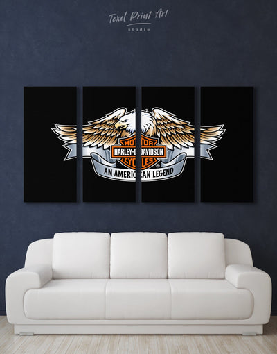 4 Pieces Harley Davidson Logo Wall Art Canvas Print - Canvas Wall Art 4 Panels bachelor pad black Hallway Living Room