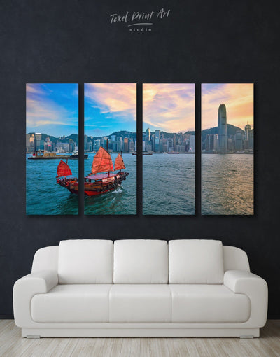 4 Pieces Hong Kong Skyline Wall Art Canvas - Canvas Wall Art 4 Panels bedroom City Skyline Wall Art Cityscape Hallway