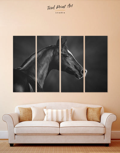 4 Pieces Horse Black Stallion Wall Art Canvas Print - 4 Panels Animal Animals bedroom Black