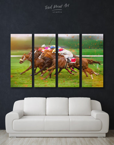 4 Pieces Horse Racing Wall Art Canvas Print - Canvas Wall Art 4 Panels bachelor pad Hallway horse wall art inspirational wall art