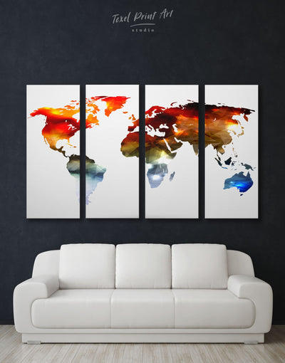 4 Pieces Light World Map Wall Art Canvas Print - 4 Panels Abstract map bedroom geometric world map Living Room