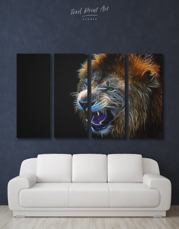 4 Pieces Lion Wall Art Canvas Print - 4 Panels Animal Animals bedroom Black