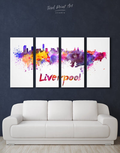 4 Pieces Liverpool Skyline Canvas Wall Art - Canvas Wall Art 4 Panels Abstract bedroom City Skyline Wall Art Cityscape
