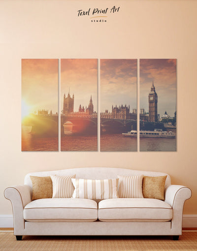 4 Pieces London City Wall Art Canvas Print - 4 Panels bedroom City Skyline Wall Art Cityscape Living Room