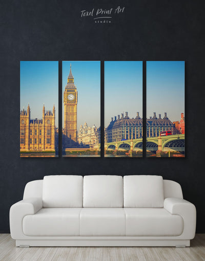 4 Pieces London Cityscape Wall Art Canvas Print - 4 Panels bedroom City Skyline Wall Art Cityscape Dining room