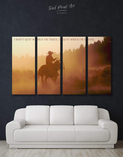 4 Pieces Man on Horse Wall Art Canvas Print - 4 Panels bachelor pad bedroom brown Cowboy