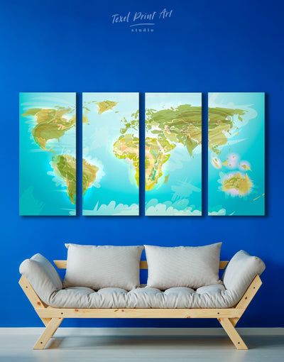 4 Pieces Map of the World Green Wall Art Canvas Print - 4 Panels Abstract map Blue corkboard Green