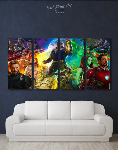 4 Pieces Marvel Characters Wall Art Canvas Print - 4 Panels bachelor pad bedroom Hallway Living Room
